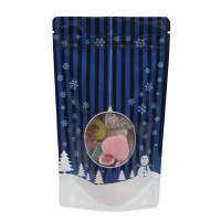 12cm x 20cm Christmas Blue Shiny Stand Up Pouch/Bag with Zip Lock