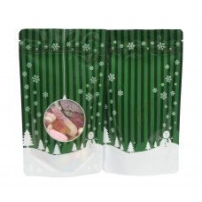 19cm x 26cm Christmas Green Shiny Stand Up Pouch/Bag with Zip Lock [SP5]