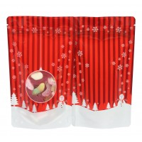 19cm x 26cm Christmas Red Shiny Stand Up Pouch/Bag with Zip Lock [SP5]