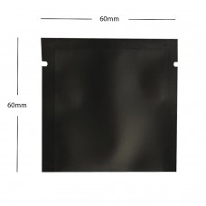 60mm x 60mm  Black Matt 3 Side Seal Pouches