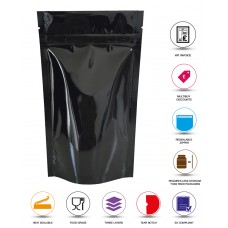 500g Black Shiny Stand Up Pouch/Bag with Zip Lock [SP5]