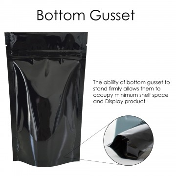 3kg Black Shiny Stand Up Pouch/Bag with Zip Lock [SP7]