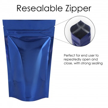 250g Blue Shiny Stand Up Pouch/Bag with Zip Lock [SP4]