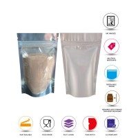 100g Clear / Silver Matt Stand Up Pouch/Bag with Zip Lock [SP9]