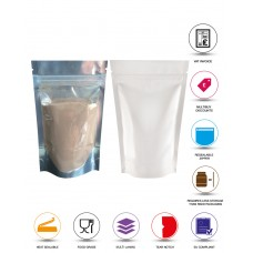 50g Clear / White Shiny Stand Up Pouch/Bag with Zip Lock [WP1]