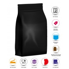 250g Black Matt Flat Bottom Stand Up Pouch/Bag with Zip Lock [SP4]