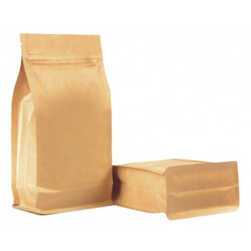 250g Kraft Paper Flat Bottom Pouch/Bag with Zip Lock [FB4]