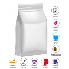 1kg White Matt Flat Bottom Stand Up Pouch/Bag with Zip Lock [SP6]