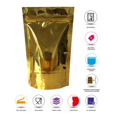 250g Gold Shiny Stand Up Pouch/Bag with Zip Lock [SP4]