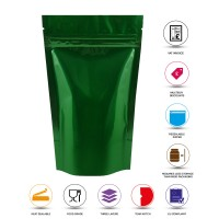 250g Green Shiny Stand Up Pouch/Bag with Zip Lock [SP4]