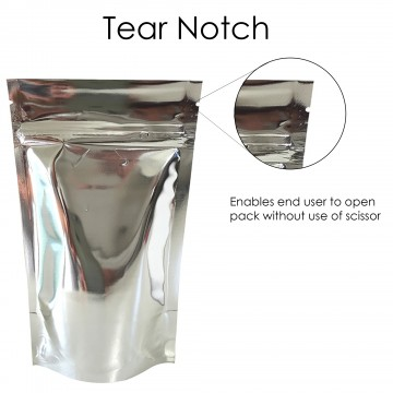 100g Silver Shiny Stand Up Pouch/Bag with Zip Lock [SP9]