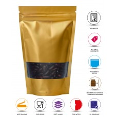 100g Window Gold Matt Stand Up Pouch/Bag with Zip Lock [SP9]