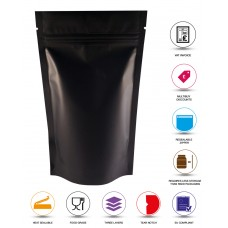 250g Black Matt Stand Up Pouch/Bag with Zip Lock [SP4]