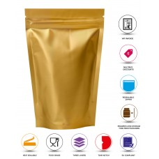 500g Gold Matt Stand Up Pouch/Bag with Zip Lock [SP5]