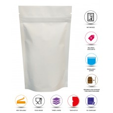 50g White Matt Stand Up Pouch/Bag with Zip Lock [WP1]
