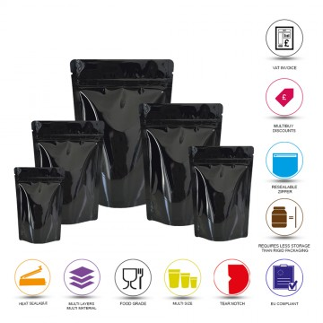 1kg Black Shiny Stand Up Pouch/Bag with Zip Lock [SP6]