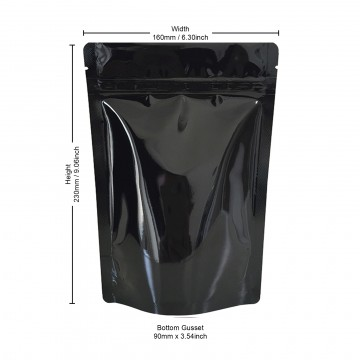 250g Black Shiny Stand Up Pouch/Bag with Zip Lock [SP4]