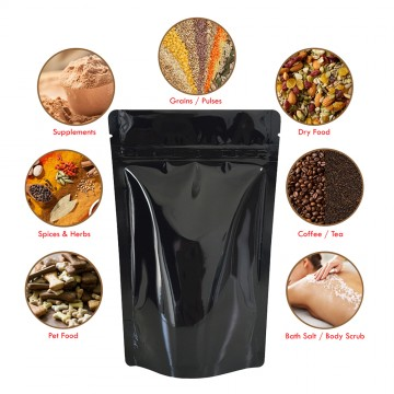 750g Black Shiny Stand Up Pouch/Bag with Zip Lock [SP11]