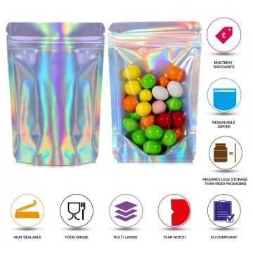 150g Clear / Holographic Stand Up Pouch/Bag with Zip Lock [SP3]