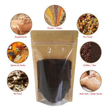 100g Kraft Paper One Side Clear Stand Up Pouch/Bag with Zip Lock [SP9]