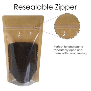 1kg Kraft Paper One Side Clear Stand Up Pouch/Bag with Zip Lock [SP6]
