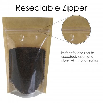 40g Kraft Paper One Side Clear Stand Up Pouch/Bag with Zip Lock [SP1]