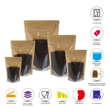 50g Kraft Paper One Side Clear Stand Up Pouch/Bag with Zip Lock [WP1]