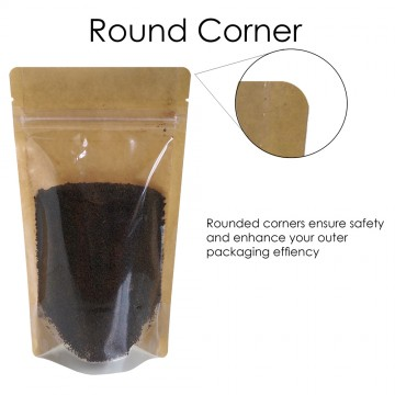 500g Kraft Paper One Side Clear Stand Up Pouch/Bag with Zip Lock [SP5]