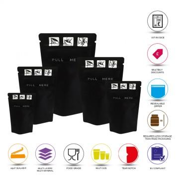 8cm x 13cm Child Resistant Window Black Matt Stand Up Pouch/Bag with Zip Lock [SP1]