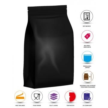 1kg Black Matt Flat Bottom Stand Up Pouch/Bag with Zip Lock [FB6]