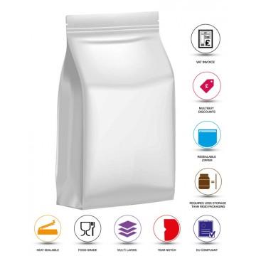 1kg White Matt Flat Bottom Stand Up Pouch/Bag with Zip Lock [FB6]