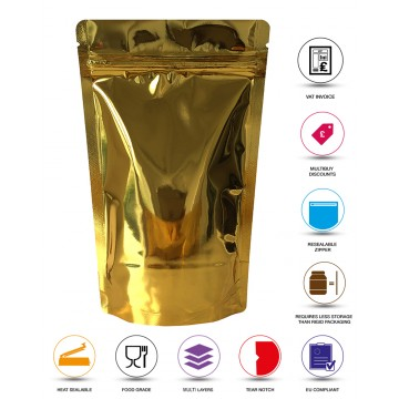 1kg Gold Shiny Stand Up Pouch/Bag with Zip Lock [SP6]
