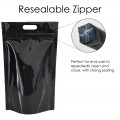 5kg Black Shiny With Handle Stand Up Pouch/Bag with Zip Lock [SP8]