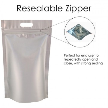 5kg Silver Matt With Handle Stand Up Pouch/Bag with Zip Lock [SP8]