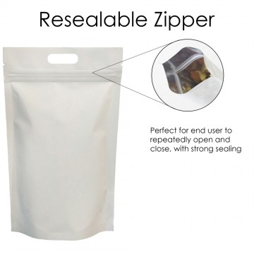 5kg White Matt With Handle Stand Up Pouch/Bag with Zip Lock [SP8]