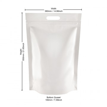 5kg White Shiny With Handle Stand Up Pouch/Bag with Zip Lock [SP8]