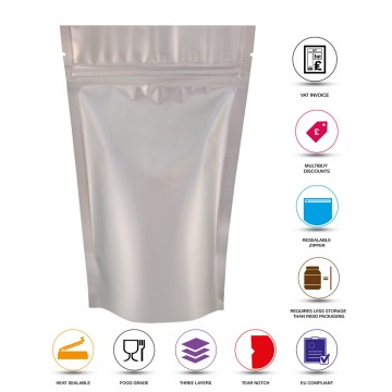 5kg Silver Matt Stand Up Pouch/Bag with Zip Lock [SP8]
