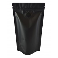 150g Matt Black With Valve Stand Up Pouch/Bag with Zip Lock [SP3]