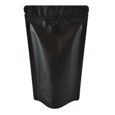 1kg Matt Black With Valve Stand Up Pouch/Bag with Zip Lock [SP6]