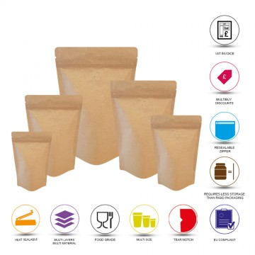 70g Kraft Paper With Valve Stand Up Pouch/Bag with Zip Lock [SP2]