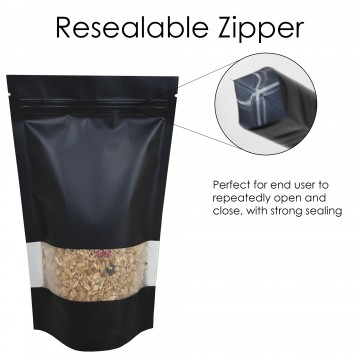 40g Window Black Matt Stand Up Pouch/Bag with Zip Lock [SP1]