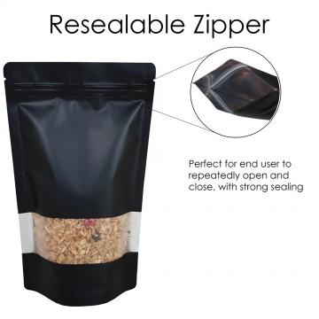 750g Window Black Matt Stand Up Pouch/Bag with Zip Lock [SP11]