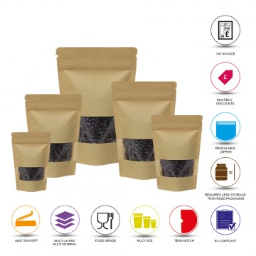 1kg Window Kraft Paper Stand Up Pouch/Bag with Zip Lock [SP6]