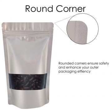 1kg Window Silver Matt Stand Up Pouch/Bag with Zip Lock [SP6]