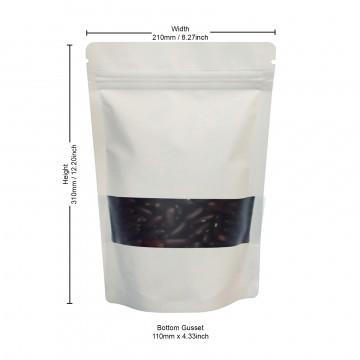 750g Window White Matt Stand Up Pouch/Bag with Zip Lock [SP11]