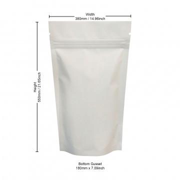 5kg White Matt Stand Up Pouch/Bag with Zip Lock [SP8]