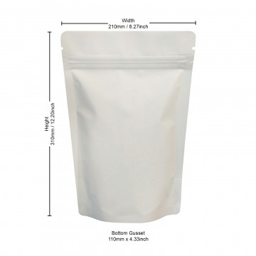 750g White Matt Stand Up Pouch/Bag with Zip Lock [SP11]