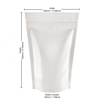 5kg White Shiny Stand Up Pouch/Bag with Zip Lock [SP8]